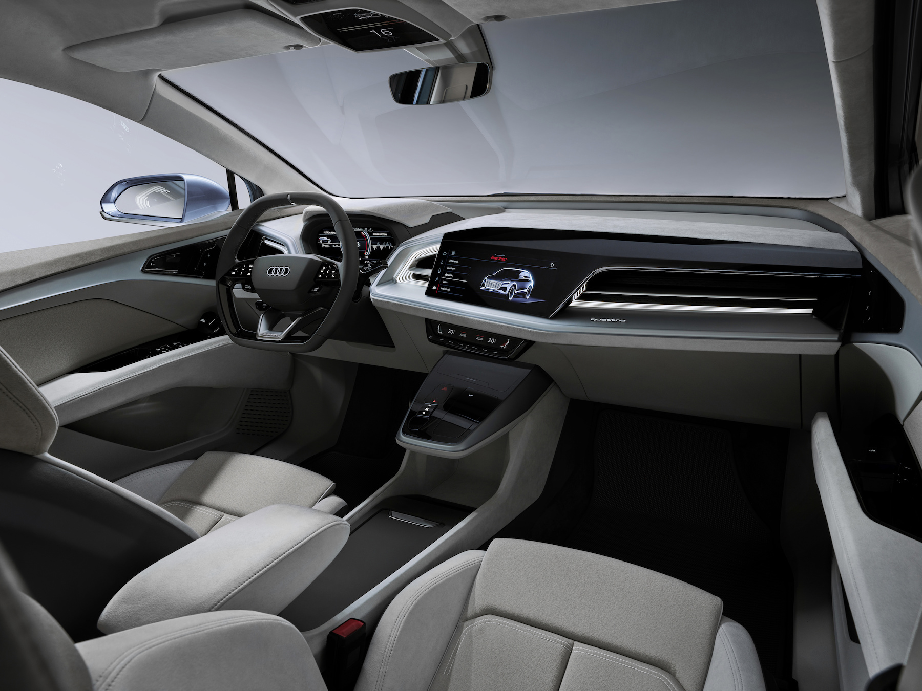 Aussen kompakt, innen riesig: Im Audi Q4 e-tron concept sollen sich Fahrer und passagiere wohl fühlen. (AUDI)