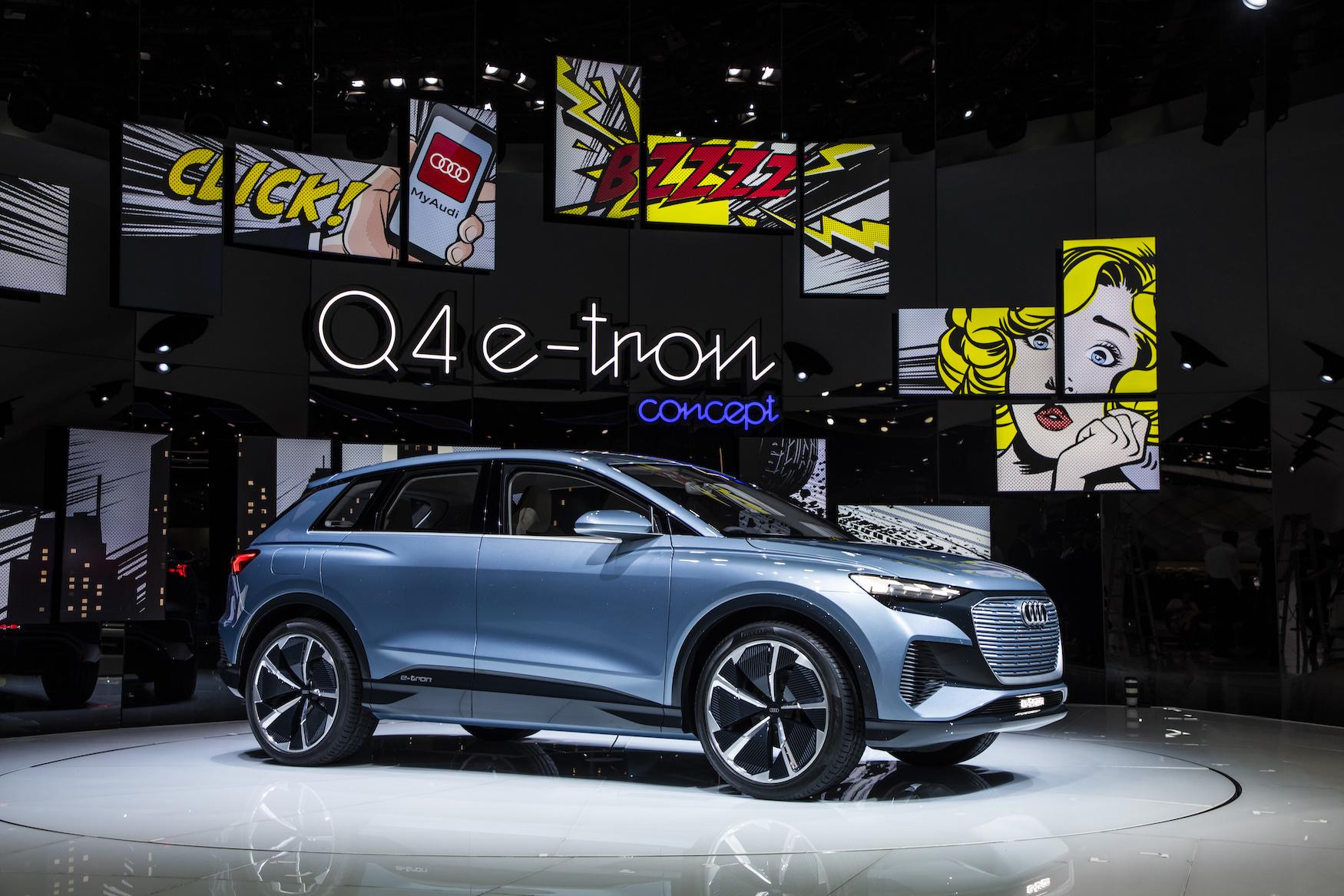 Der Q4 e-tron concept bei der Premiere im Frühling am Autosalon in Genf. (AUDI)