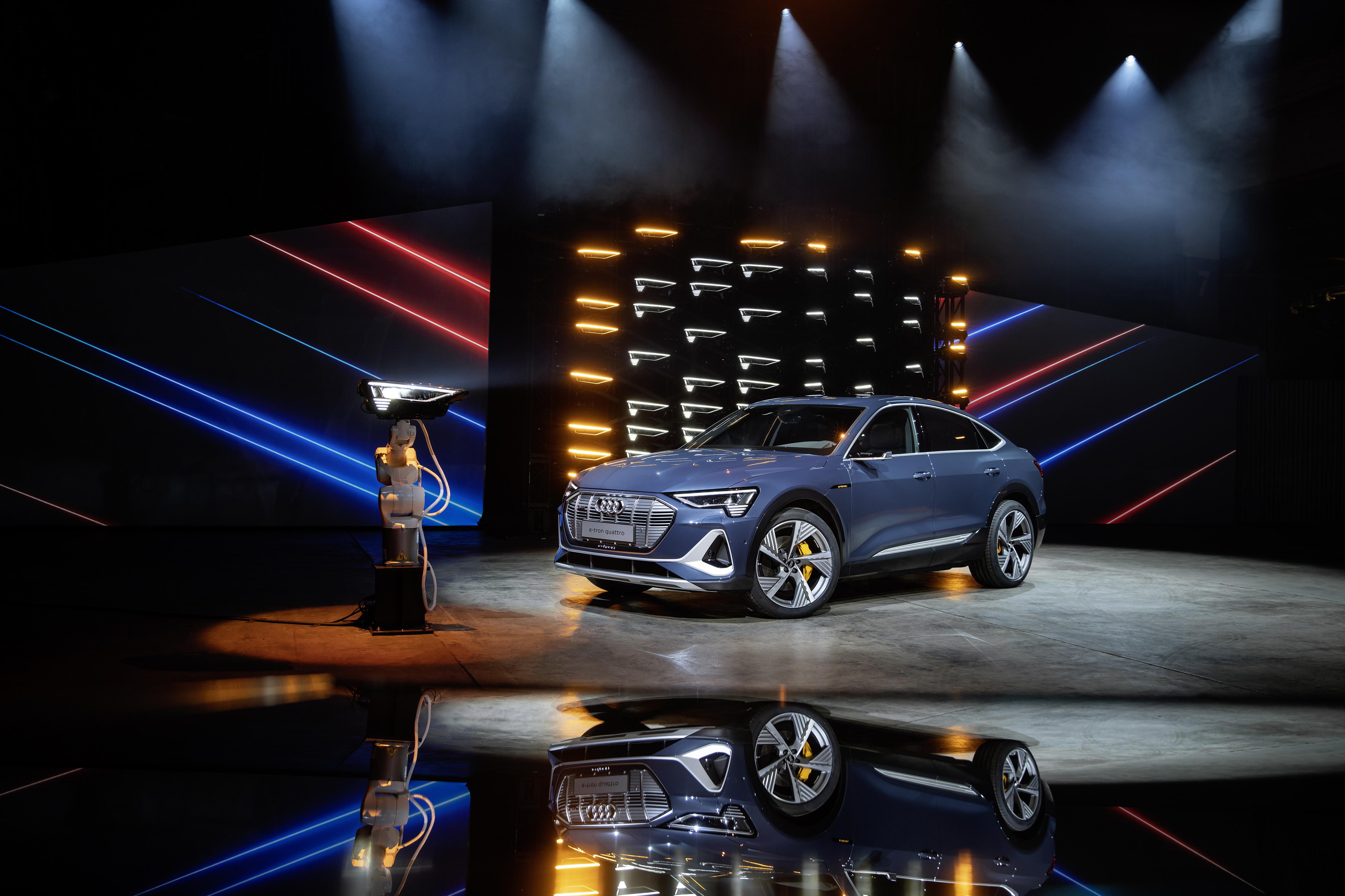 L'Audi e-tron Sportback 55 quattro lors de sa présentation à Los Angeles. (AUDI)